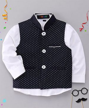 Robo Fry Full Sleeves Plain Shirt And Dots Print Jacket - Navy Blue & White