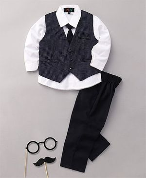 Robo Fry 3 Piece Party Suit With Tie - Navy Blue White