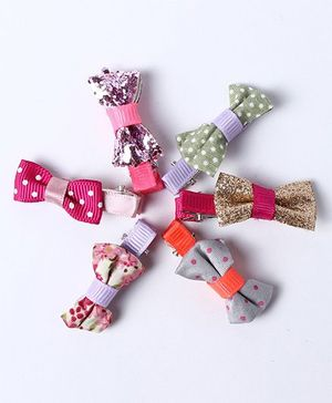 Little Hip Boutique Polka Printed & Glitter Bow Clip Set Of 6 - Multi