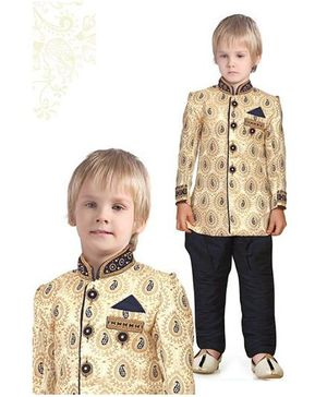 Ethnik's Neu Ron Full Sleeves Self Design Sherwani Pajama Set - Navy