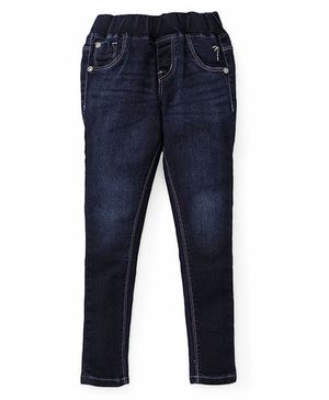 Palm Tree Full Length Elasticated Jeans - Blue