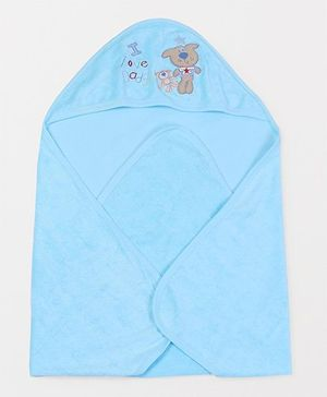 Doreme Hooded Terry Towel Animal Embroidery - Aqua Blue