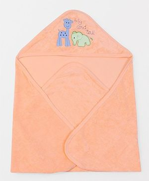 Doreme Hooded Terry Towel Animal Embroidery - Orange