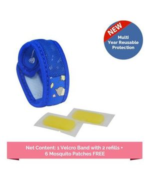 Safe-O-Kid Mosquito Repellent Band Reusable Ayurvedic & Natural with 2 refills Sugartown - Blue