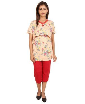 9teenAgain Maternity Nursing Top And Capri Floral Print - Peach Red