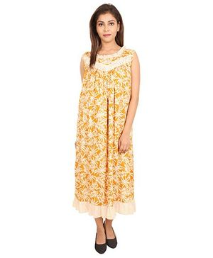 9teenAgain Sleeveless Maternity Nursing Nighty Leaves Print - Light Yellow