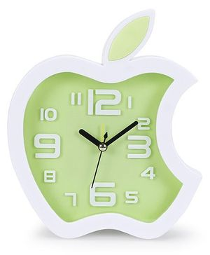 Apple Shape Clock - Green White