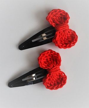 Bobbles & Scallops Small Bow Snap Clip Set - Red