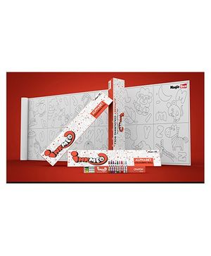 Inkmeo Reusable Alphabet Colouring Roll - Red White