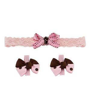Babies Bloom Headband And Hair Clip Set - Pink