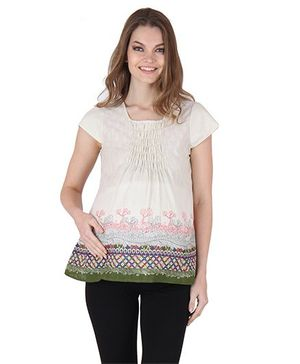 Preggear Short Sleeves Printed Gathered Maternity Top - Cream