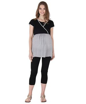 Preggear Nursing Top With Feeding Layer - Black And Grey