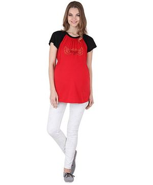 Preggear Short Sleeves Jersey Top With Rhinestone Embellishments - Red