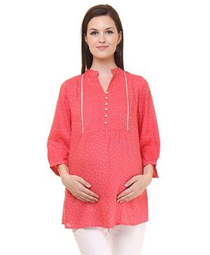 Preggear Front Open Nursing Tunic Dot Print - Peach