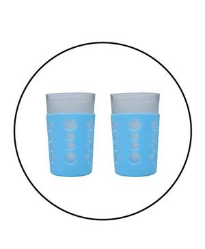 Safe-O-Kid 2 Baby Feeding Bottle Covers / Sleeves - Up to 120 ml, Silicone Material, Blue - Pack of 2