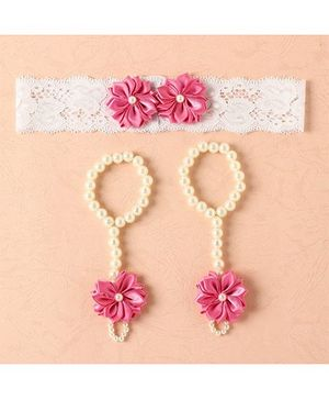 Funkrafts Flower Barefoot Sandals & Headband - Pink