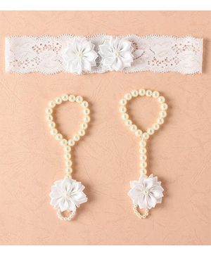 Funkrafts Flower Barefoot Sandals & Headband - White