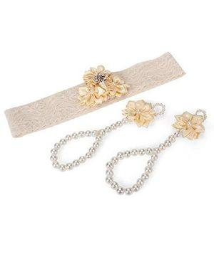 Funkrafts Flower Barefoot Sandals & Headband - Cream