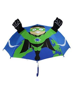 Abracadabra 3D Pop-up Umbrella Super Hero Theme - Blue Green