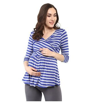 Mamacouture Maternity Top -  Royal Blue & Grey