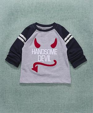 Simply Raglan Sleeves Sweatshirt Handsome Evil Embroidery - Grey Navy Blue