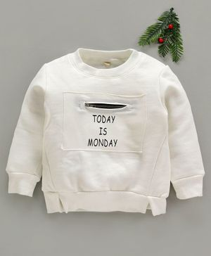 Zonko Style Today Is Monday Round Neckline Sweatshirt - White