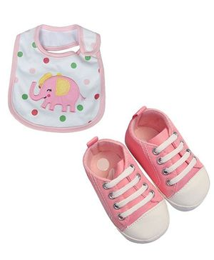 Babies Bloom Sandals & Bib Set Elephant Patch -  Pink