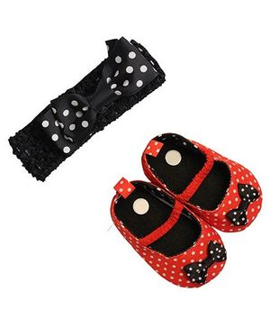 Babies Bloom Sandals & Headband Set Bow Design - Black Red