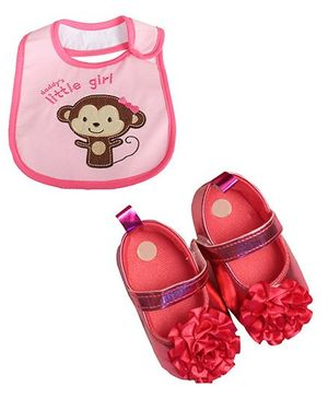 Babies Bloom Sandals & Bib Set Flower Applique & Monkey Patch - Pink