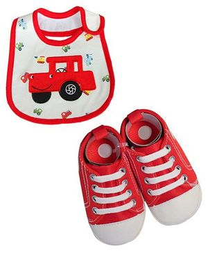 Babies Bloom Sandals & Bib Set Car Patch - Red