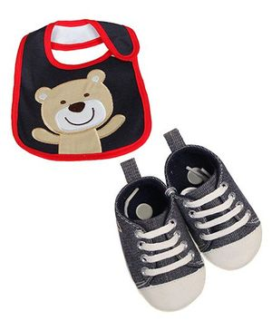 Babies Bloom Sandals & Bib Set Teddy Patch - Black