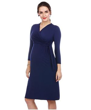 The Mommy Collective Three Fourth Sleeves Maternity Dress - Navy Blue