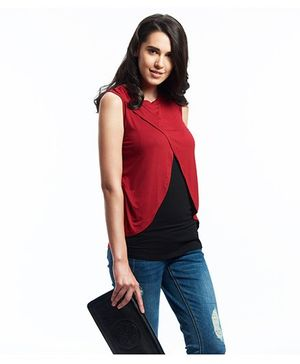 Nuthatch Colour Block Nursing Maternity Top - Maroon & Black
