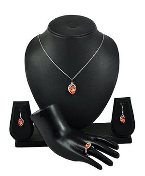 Angel GlitterCrystal Necklace Set With Ring  - Orange