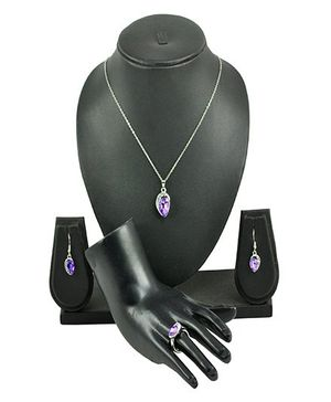 Angel GlitterCrystal Drop With Ring Necklace Set - Purple