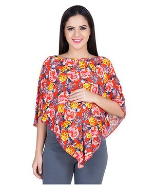 Blush 9 Maternity Poncho Floral Print - Red