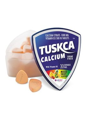 Tuskca Sugar Free Calcium Mixed Fruit 30 Chewable Tablets - Pack Of 2