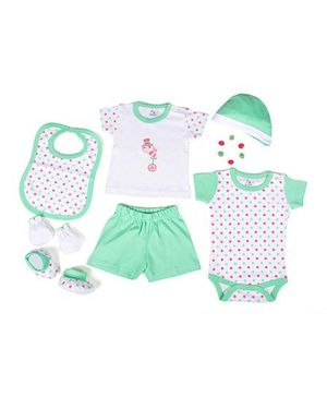 Beebop Apparel Gift Set Polka Dots Print Pack of 7 - Mint Green & White