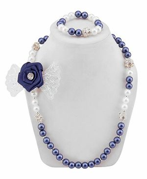 Daizy Adorable Bow Necklace & Bracelet Set - Blue & White