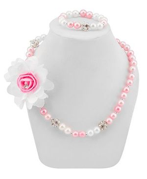 Daizy Flower Necklace & Bracelet Set - Pink & White