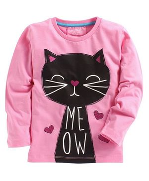 Lazy Shark Cat Printed Full Sleeve Top - Pink