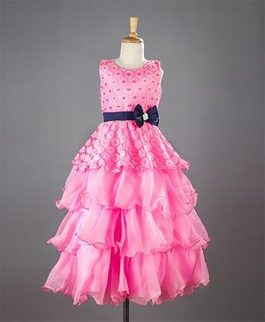 M'PRINCESS Bow Applique Party Wear Gown - Pink