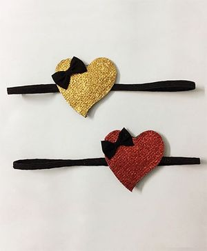 Knotty Ribbons Set of 2 Heart Head Bands -  Red & Golden