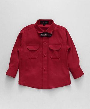 Robo Fry Full Sleeves Shirt With Bow - Dark Red