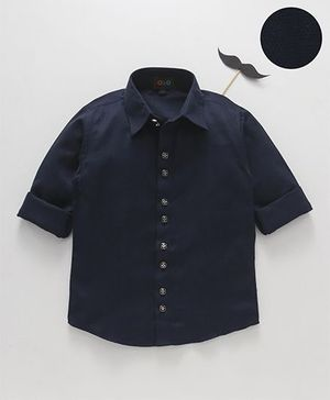 Robo Fry Full Sleeves Solid Colour Party Shirt - Navy Blue