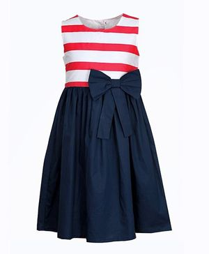 Bella Moda Striped Dress With Bow Design - Blue