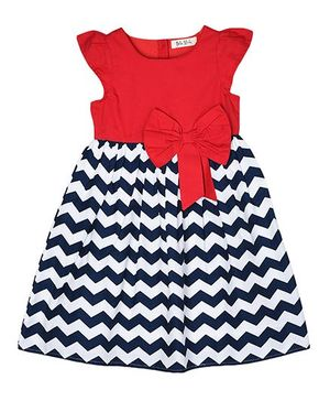 Bella Moda Chevron Printed Dress With Bow Design - Blue