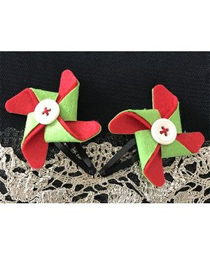 Kalacaree Pin Wheel Hair Clips - Red & Green