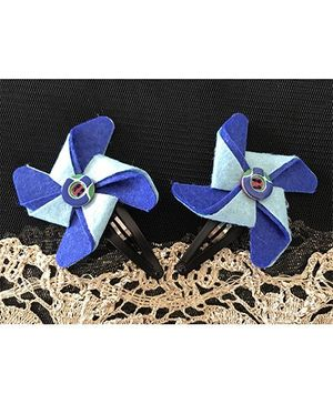 Kalacaree Pin Wheel Hair Clips - Blue