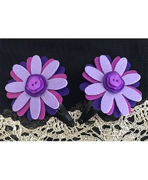 Kalacaree Flower Theme Hair Clips - Purple